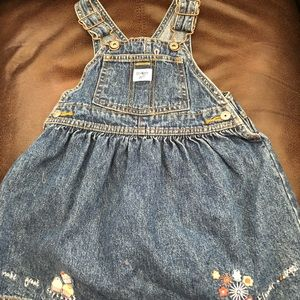 Toddler 3T Osh Kosh jean jumper w/cute embroidery